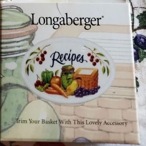 Longaberger Recipe Basket Lid Tieon protector card